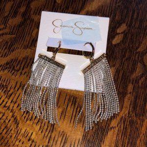 Jessica Simpson Beaded Line Tassel Dangle Earrings